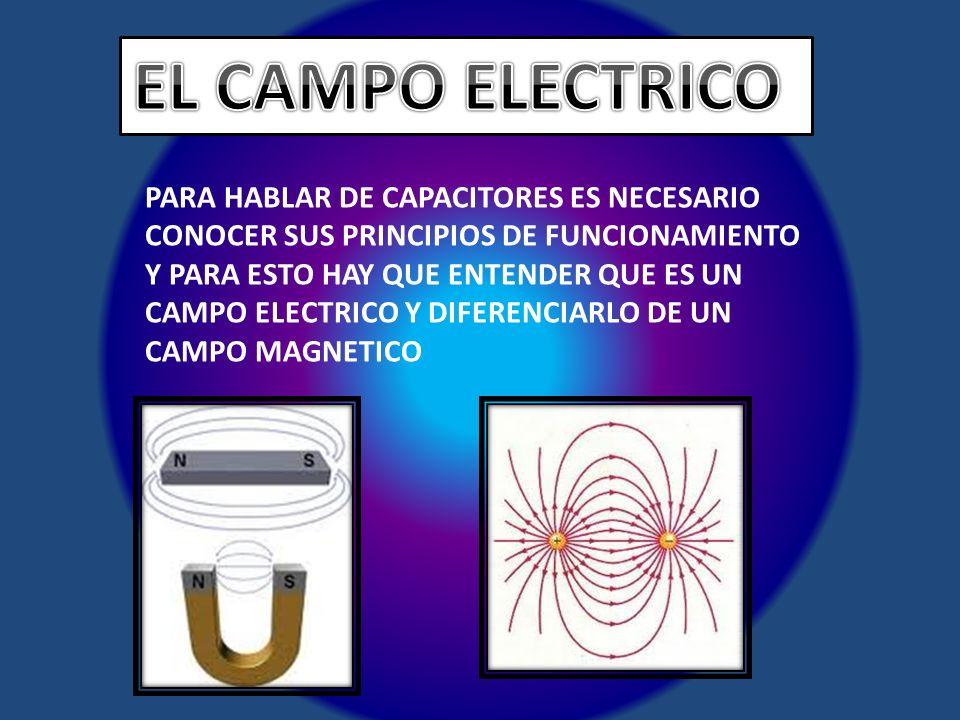PARA HABLAR DE CAPACITORES ES NECESARIO CONOCER SUS PRINCIPIOS DE FUNCIONAMIENTO Y PARA ESTO HAY QUE ENTENDER QUE ES UN CAMPO ELECTRICO Y DIFERENCIARL