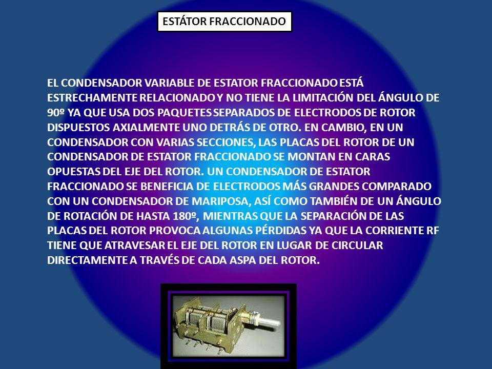 ESTÁTOR FRACCIONADO EL CONDENSADOR VARIABLE DE ESTATOR FRACCIONADO ESTÁ ESTRECHAMENTE RELACIONADO Y NO TIENE LA LIMITACIÓN DEL ÁNGULO DE 90º YA QUE US