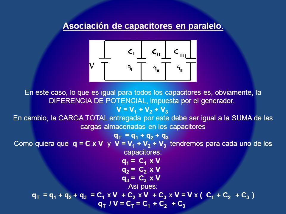 Asociación de capacitores en paralelo. En este caso, lo que es igual para todos los capacitores es, obviamente, la DIFERENCIA DE POTENCIAL, impuesta p