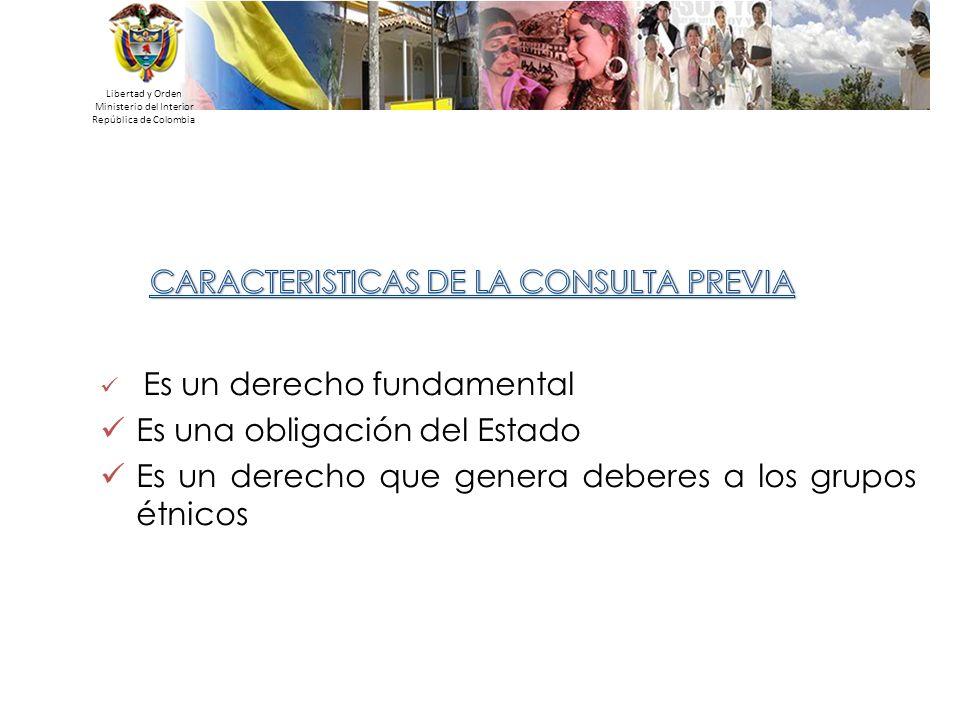 Libertad y Orden Ministerio del Interior República de Colombia Es un derecho fundamental Es una obligación del Estado Es un derecho que genera deberes