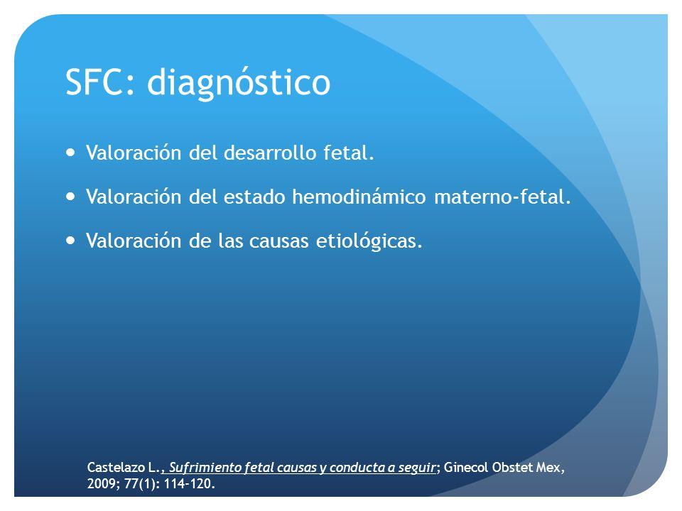 SFC: diagnóstico Valoración del desarrollo fetal. Valoración del estado hemodinámico materno-fetal. Valoración de las causas etiológicas. Castelazo L.