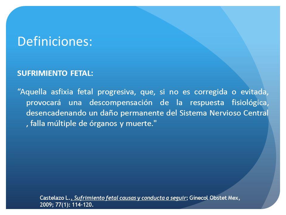 Definiciones: SUFRIMIENTO FETAL: Aquella asfixia fetal progresiva, que, si no es corregida o evitada, provocará una descompensación de la respuesta fi