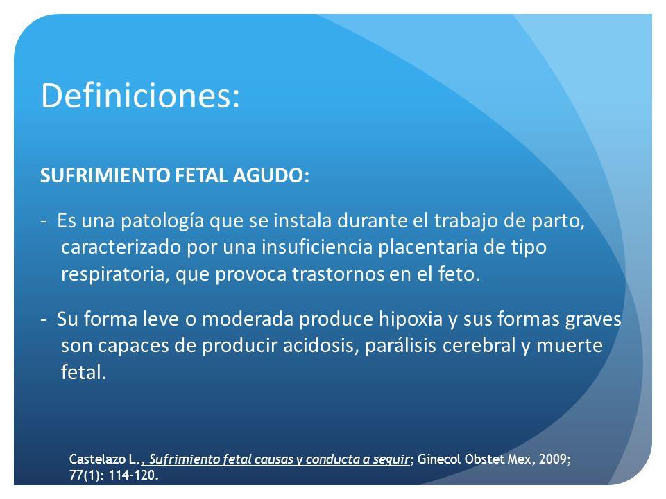 Definiciones: SUFRIMIENTO FETAL CRONICO: Es una patología que se instala durante el embarazo, caracterizado por una insuficiencia placentaria progresiva, que provoca trastornos en el desarrollo fetal.