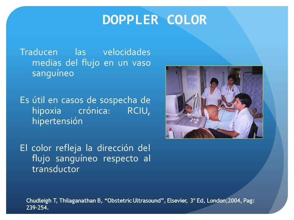 DOPPLER COLOR Traducen las velocidades medias del flujo en un vaso sanguíneo Es útil en casos de sospecha de hipoxia crónica: RCIU, hipertensión El color refleja la dirección del flujo sanguíneo respecto al transductor Chudleigh T, Thilaganathan B, Obstetric Ultrasound, Elsevier, 3º Ed, London;2004, Pag: 239-254.