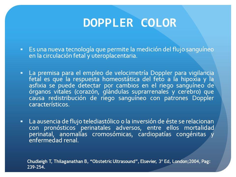DOPPLER COLOR Es una nueva tecnología que permite la medición del flujo sanguíneo en la circulación fetal y uteroplacentaria. La premisa para el emple