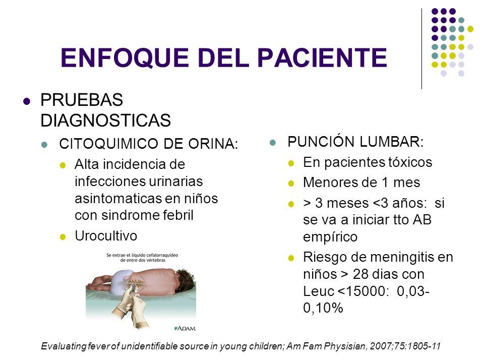 ENFOQUE DEL PACIENTE PRUEBAS DIAGNÓSTICAS RX DE TORAX Recomendada solo en pacientes febriles con síntomas respiratorios o hallazgos en la auscultacion pulmonar Paciente con T°>39°C, Leuc >20.000 sin identificación de foco: Neumonía silente NEUMONIA REDONDA: Niño con fiebre 40°, dolor abdominal y tos seca Interpretation of Chest Radiographs in Infants with Cough and Fever, Radiology 2005; 236:22–29 Evaluating fever of unidentifiable source in young children; Am Fam Physisian, 2007;75:1805-11