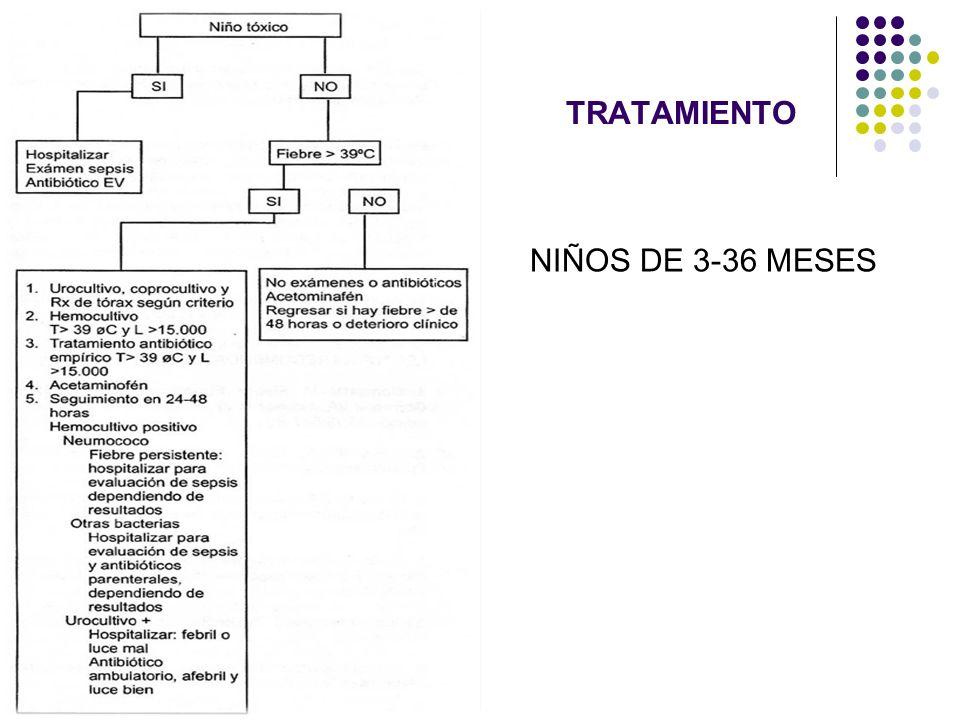 TRATAMIENTO LACTANTES < 1 MESES Ampicilina + Aminoglicócido LACTANTES DE 1 – 3 MESES Ampicilina + Aminoglicósido En caso de documentar meningitis cambiar el Aminoglicósido por Ceftrixona/ Cefotaxime NIÑOS > 3 MESES Ceftriaxona