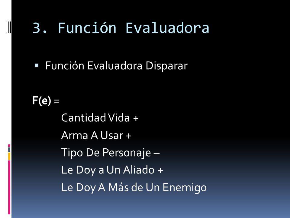 3. Función Evaluadora Función Evaluadora Disparar F(e) = Cantidad Vida + Arma A Usar + Tipo De Personaje – Le Doy a Un Aliado + Le Doy A Más de Un Ene