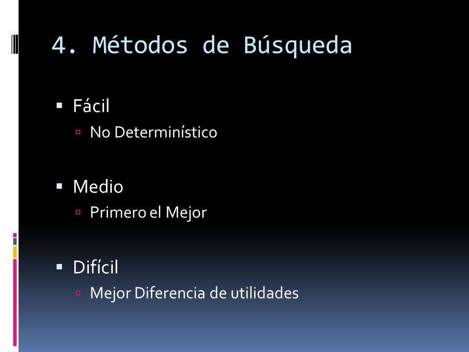 4. Métodos de Búsqueda Fácil No Determinístico Medio Primero el Mejor Difícil Mejor Diferencia de utilidades