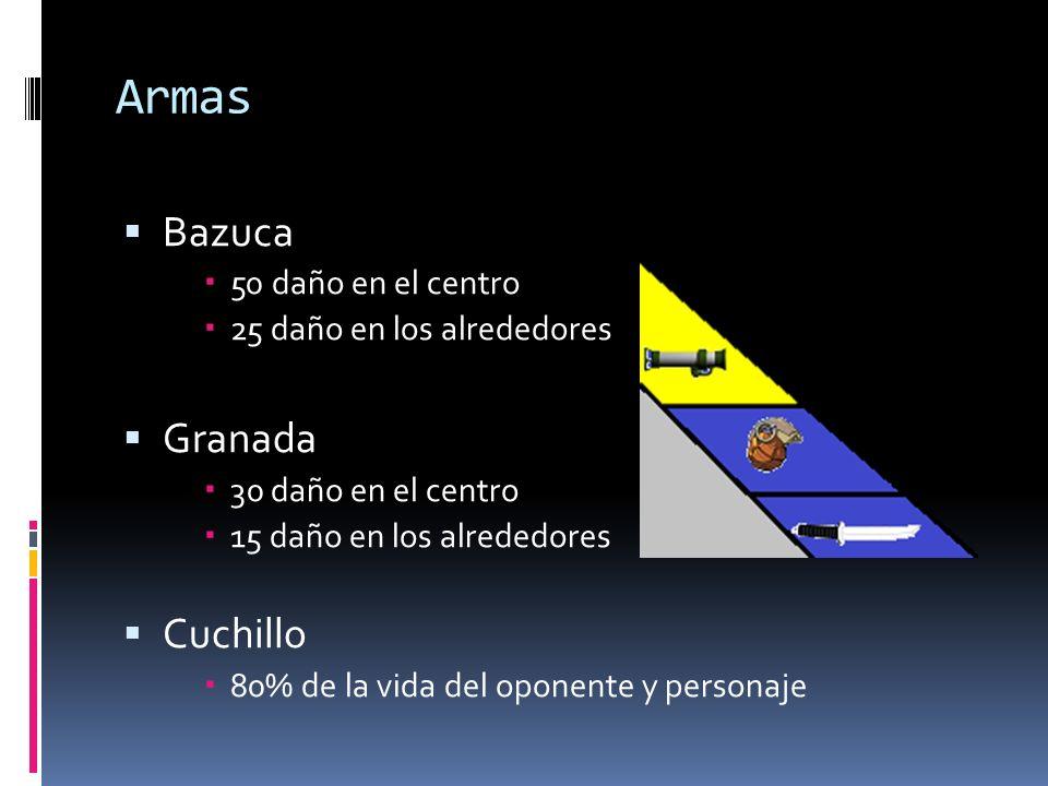 Armas Bazuca 50 daño en el centro 25 daño en los alrededores Granada 30 daño en el centro 15 daño en los alrededores Cuchillo 80% de la vida del opone