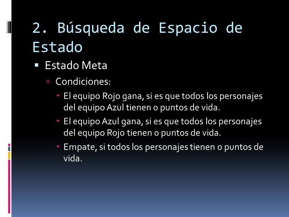 2. Búsqueda de Espacio de Estado Estado Meta Condiciones: El equipo Rojo gana, si es que todos los personajes del equipo Azul tienen 0 puntos de vida.