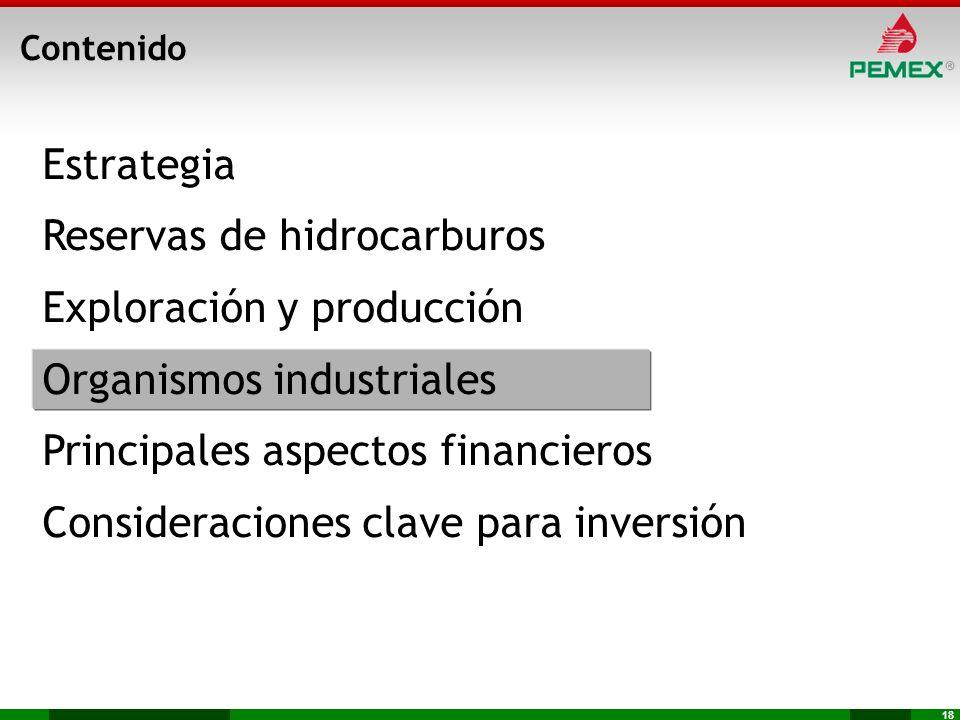 18 Estrategia Reservas de hidrocarburos Exploración y producción Organismos industriales Principales aspectos financieros Consideraciones clave para i