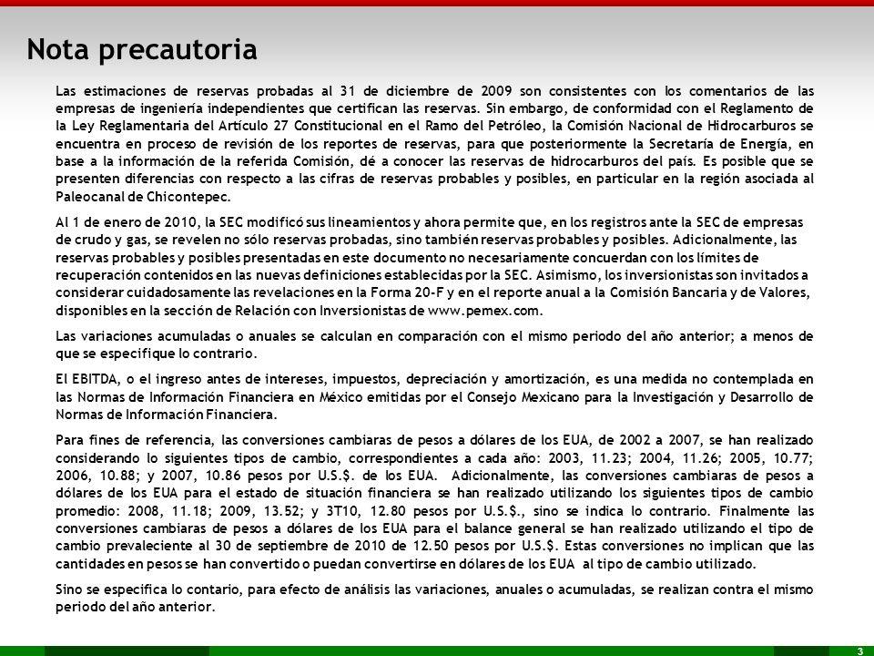 3 Nota precautoria Las estimaciones de reservas probadas al 31 de diciembre de 2009 son consistentes con los comentarios de las empresas de ingeniería