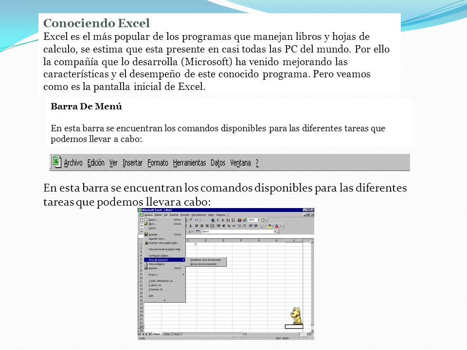 Conociendo Excel Excel es el más popular de los programas que manejan libros y hojas de calculo, se estima que esta presente en casi todas las PC del