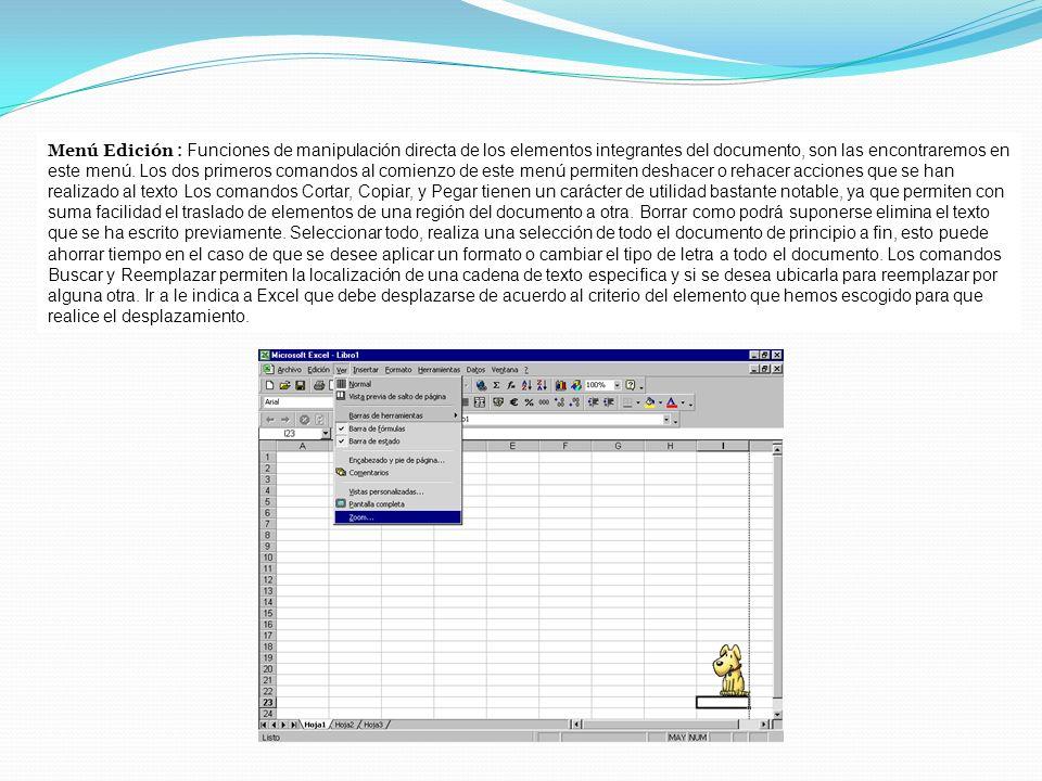 Menú Edición : Funciones de manipulación directa de los elementos integrantes del documento, son las encontraremos en este menú. Los dos primeros coma