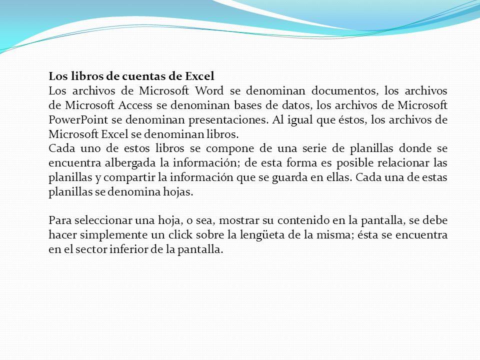 Los libros de cuentas de Excel Los archivos de Microsoft Word se denominan documentos, los archivos de Microsoft Access se denominan bases de datos, l