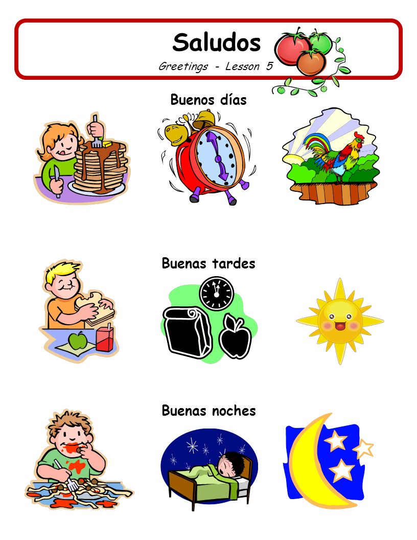 Saludos Greetings - Lesson 6 Match a greeting to each picture: Buenas noches Buenas tardes Buenos días