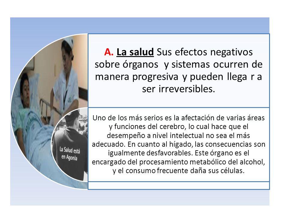 A. La salud Sus efectos negativos sobre órganos y sistemas ocurren de manera progresiva y pueden llega r a ser irreversibles. Uno de los más serios es