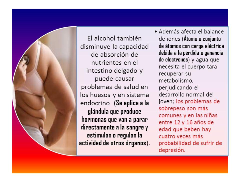 El alcohol también disminuye la capacidad de absorción de nutrientes en el intestino delgado y puede causar problemas de salud en los huesos y en sistema endocrino ( Se aplica a la glándula que produce hormonas que van a parar directamente a la sangre y estimulan o regulan la actividad de otros órganos ).