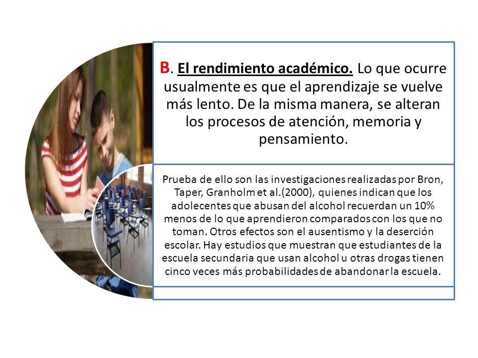 B.El rendimiento académico. Lo que ocurre usualmente es que el aprendizaje se vuelve más lento.