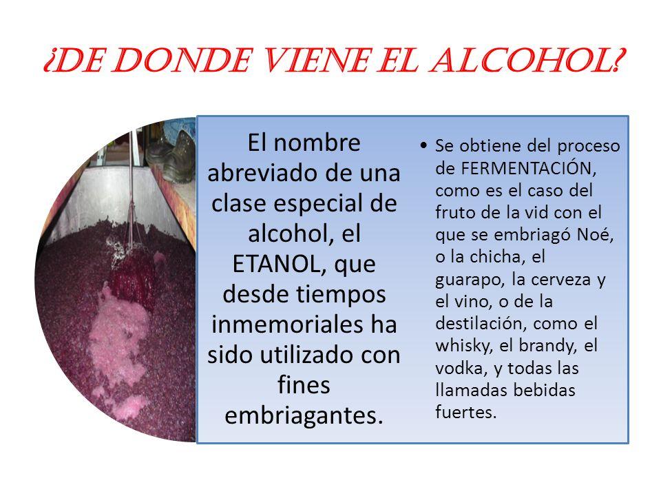 ¿De donde viene el alcohol.