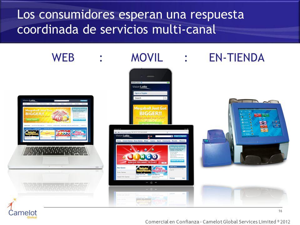 Comercial en Confianza – Camelot Global Services Limited © 2012 Los consumidores esperan una respuesta coordinada de servicios multi-canal 16 WEB : MOVIL : EN-TIENDA