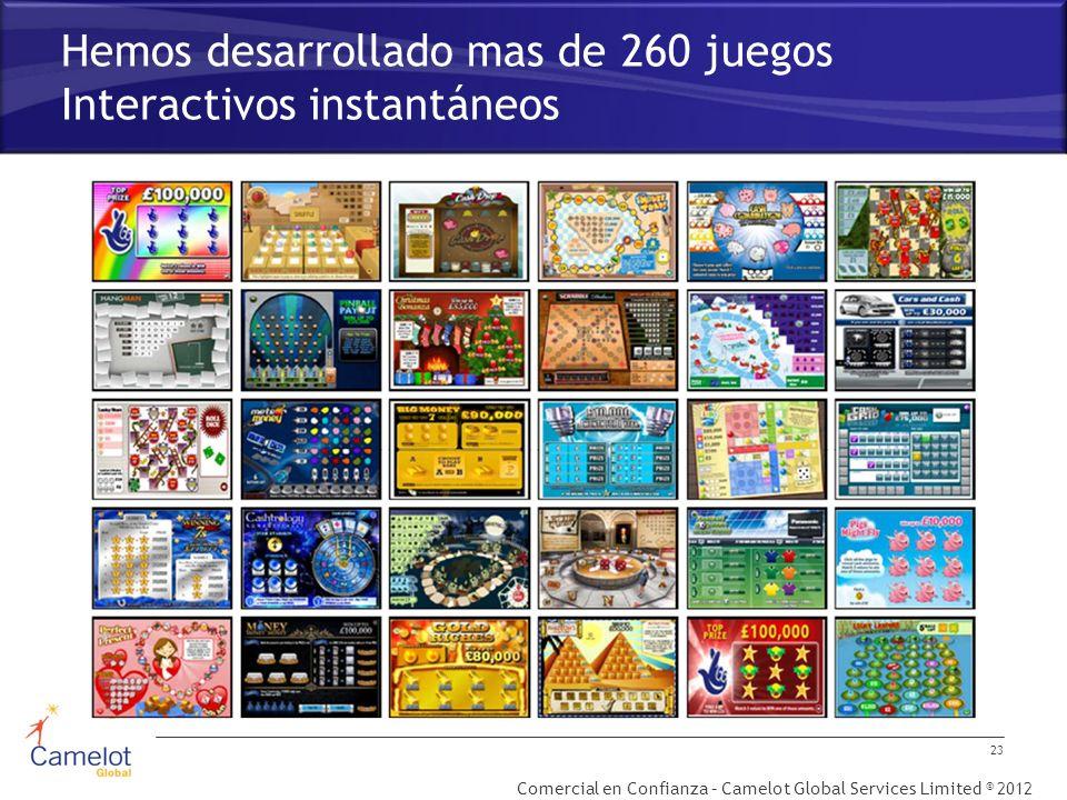 Comercial en Confianza – Camelot Global Services Limited © 2012 Hemos desarrollado mas de 260 juegos Interactivos instantáneos 23
