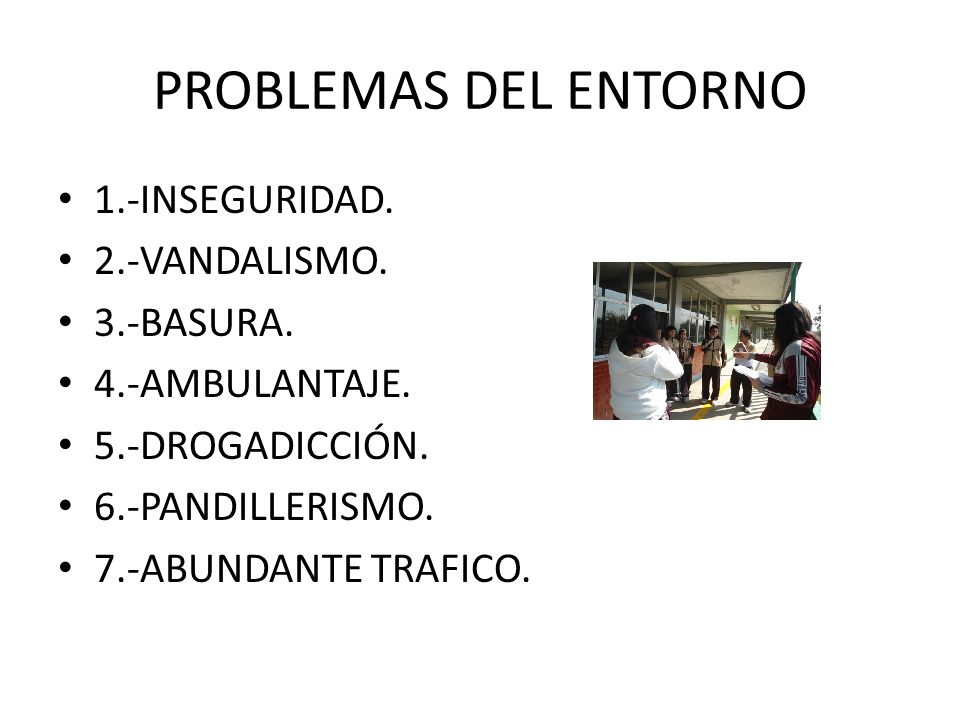 PROBLEMAS DEL ENTORNO 1.-INSEGURIDAD.2.-VANDALISMO.