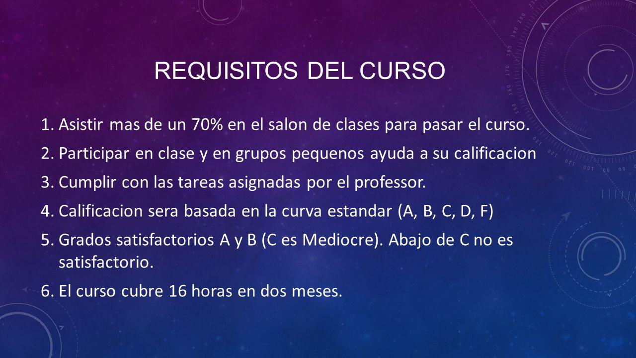 REQUISITOS DEL CURSO 1.Asistir mas de un 70% en el salon de clases para pasar el curso.