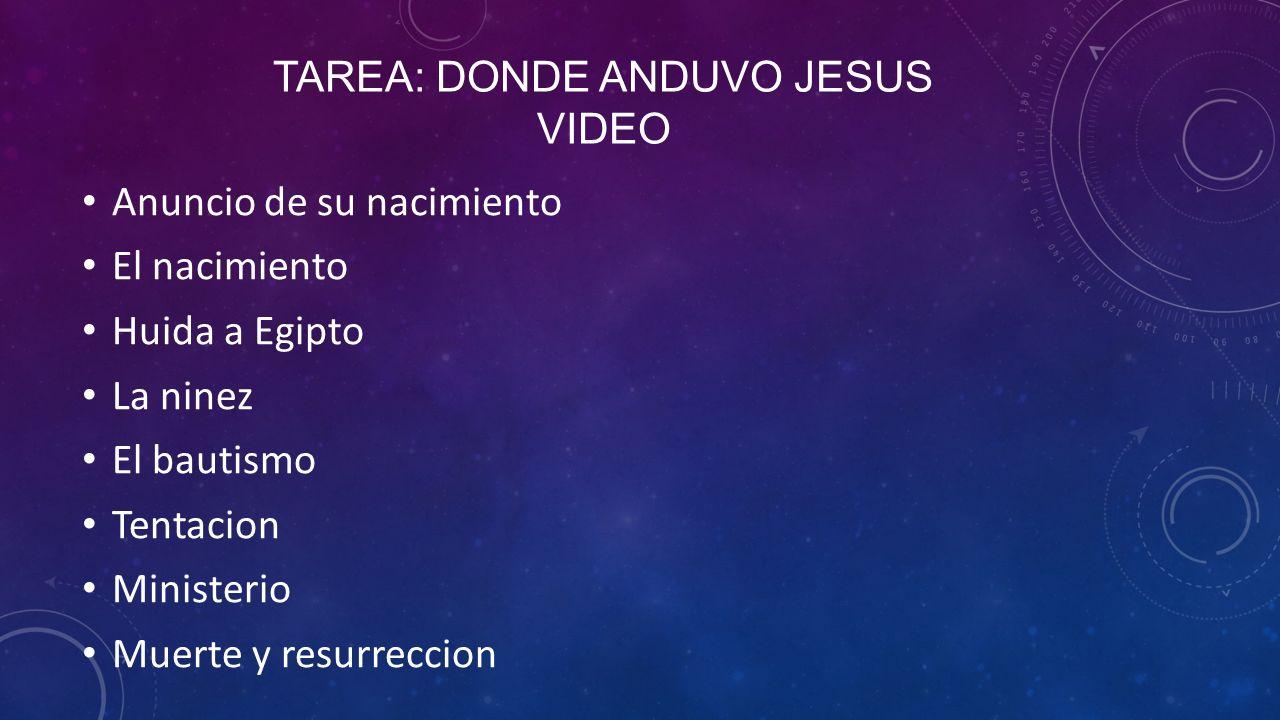 TAREA: DONDE ANDUVO JESUS VIDEO Anuncio de su nacimiento El nacimiento Huida a Egipto La ninez El bautismo Tentacion Ministerio Muerte y resurreccion