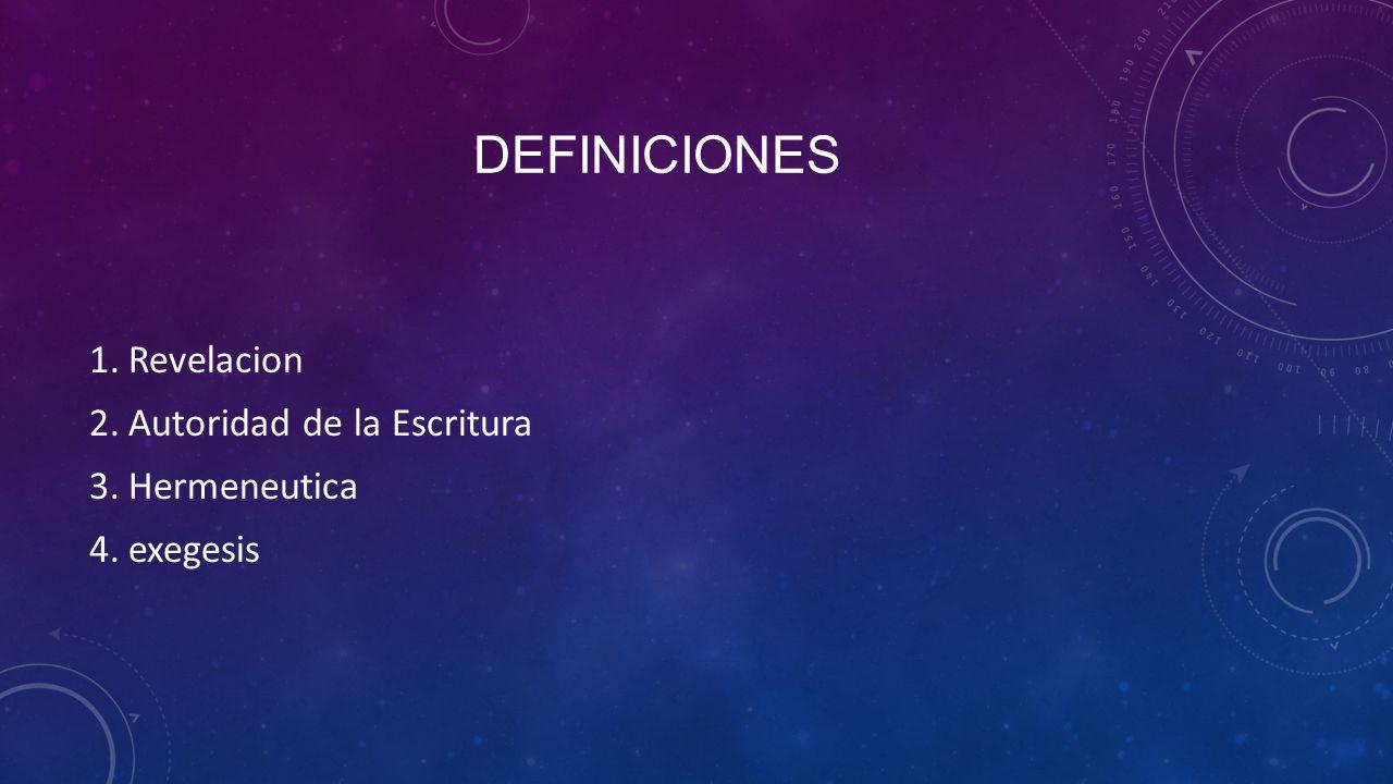 DEFINICIONES 1.Revelacion 2.Autoridad de la Escritura 3.Hermeneutica 4.exegesis