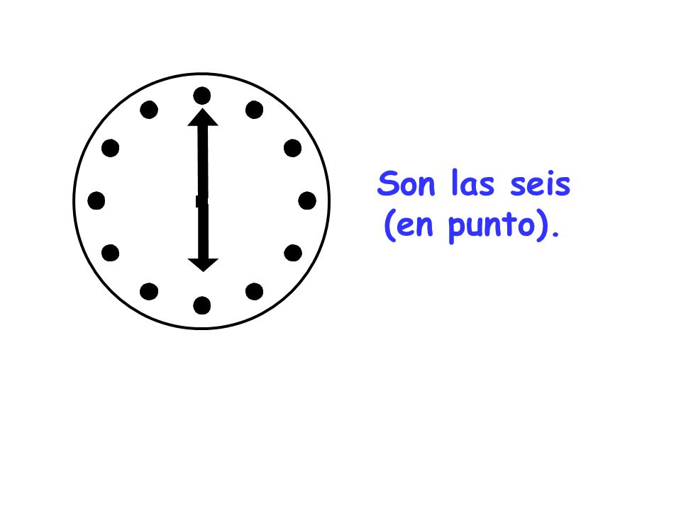 Now draw your own clocks or times and write out the times in Spanish underneath… Son las cuatro Son las diez y dos Son las cinco y pico Son las siete Eg/