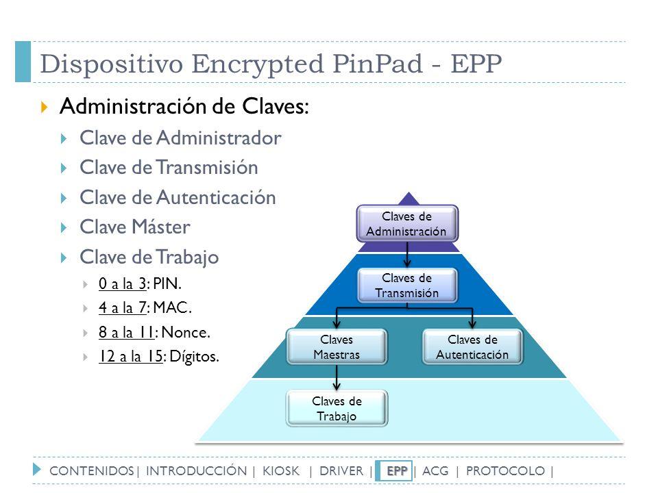 Dispositivo Encrypted PinPad - EPP Administración de Claves: Clave de Administrador Clave de Transmisión Clave de Autenticación Clave Máster Clave de