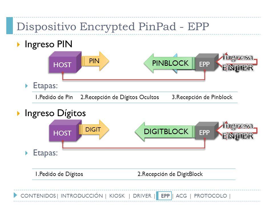 Dispositivo Encrypted PinPad - EPP Ingreso PIN Etapas: Ingreso Dígitos Etapas: HOST EPP PIN * * Ingresa Digito * * * * PINBLOCK HOST EPP DIGIT DIGITBL