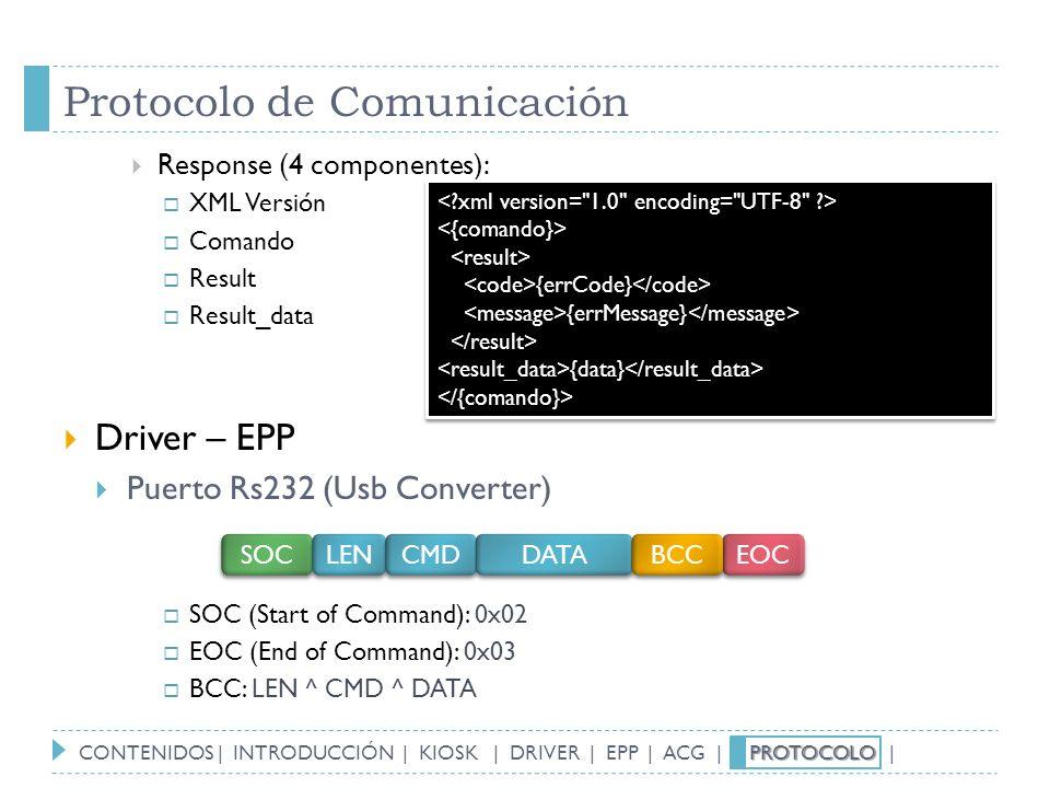 Protocolo de Comunicación Response (4 componentes): XML Versión Comando Result Result_data Driver – EPP Puerto Rs232 (Usb Converter) SOC (Start of Com