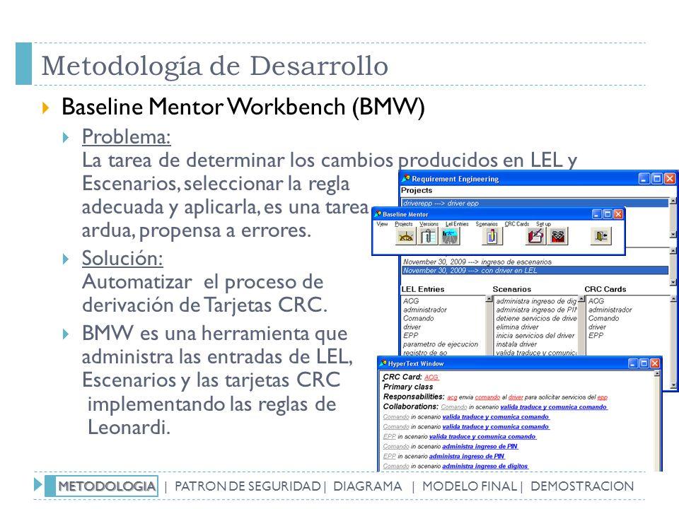 Metodología de Desarrollo Baseline Mentor Workbench (BMW) Problema: La tarea de determinar los cambios producidos en LEL y Escenarios, seleccionar la