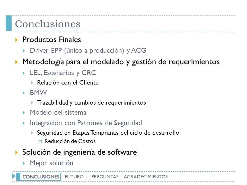 Conclusiones Productos Finales Driver EPP (único a producción) y ACG Metodología para el modelado y gestión de requerimientos LEL, Escenarios y CRC Re