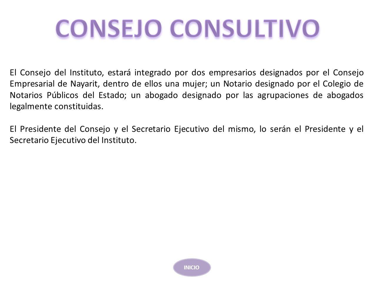 El Consejo del Instituto, estará integrado por dos empresarios designados por el Consejo Empresarial de Nayarit, dentro de ellos una mujer; un Notario