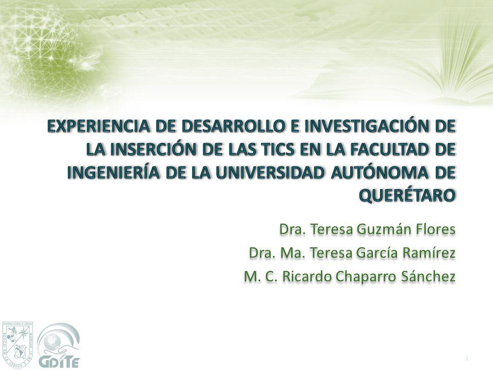 Dra. Teresa Guzmán Flores Dra. Ma. Teresa García Ramírez M. C. Ricardo Chaparro Sánchez Dra. Teresa Guzmán Flores Dra. Ma. Teresa García Ramírez M. C.