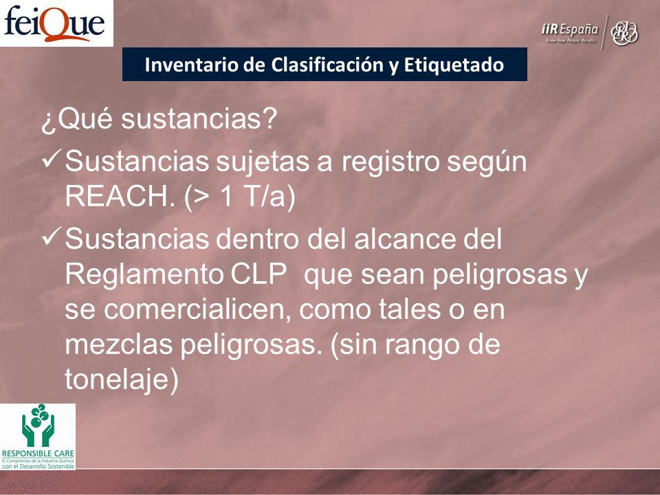 ¿Qué sustancias? Sustancias sujetas a registro según REACH. (> 1 T/a) Sustancias dentro del alcance del Reglamento CLP que sean peligrosas y se comerc