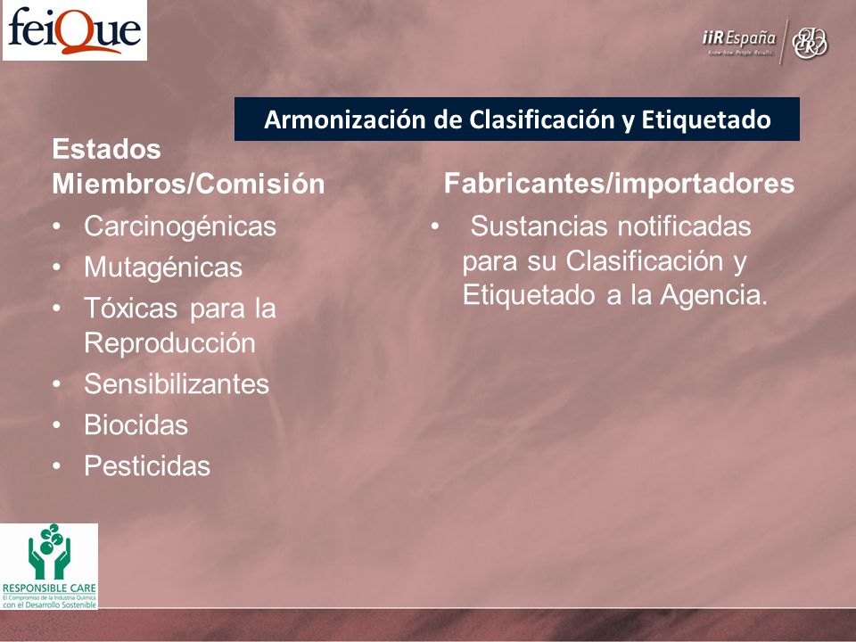 Estados Miembros/Comisión Carcinogénicas Mutagénicas Tóxicas para la Reproducción Sensibilizantes Biocidas Pesticidas Fabricantes/importadores Sustanc