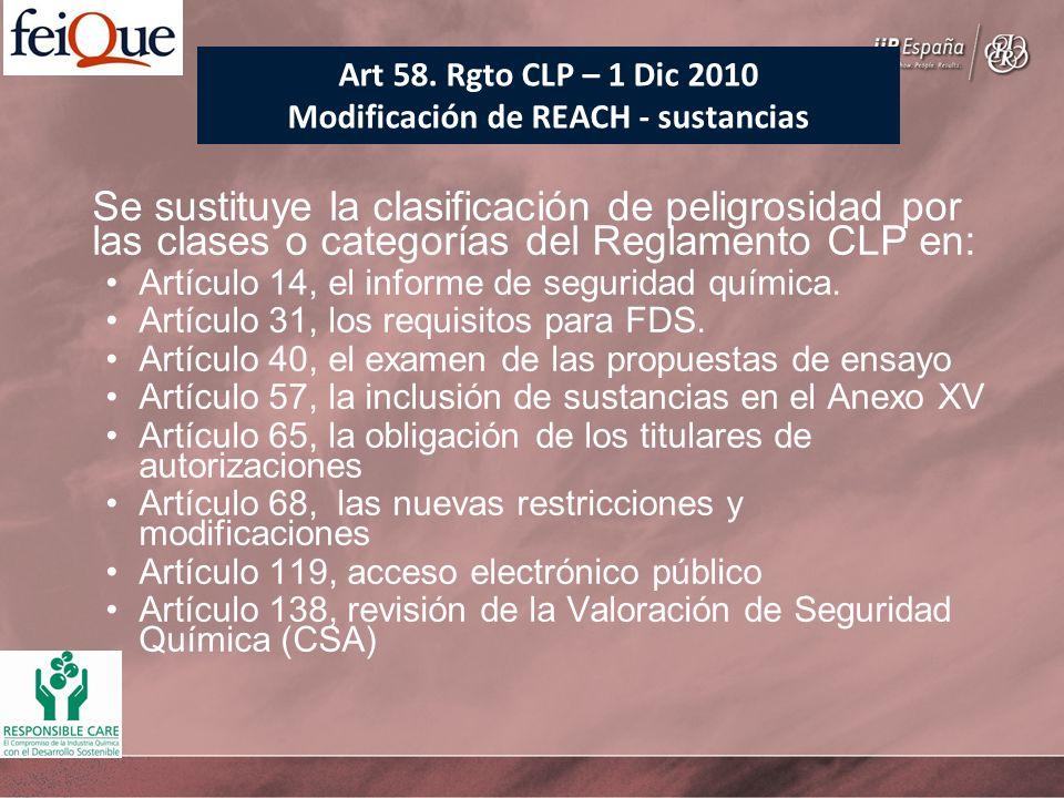 Se sustituye la clasificación de peligrosidad por las clases o categorías del Reglamento CLP en: Artículo 14, el informe de seguridad química. Artícul