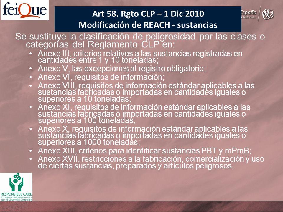 Se sustituye la clasificación de peligrosidad por las clases o categorías del Reglamento CLP en: Anexo III, criterios relativos a las sustancias regis