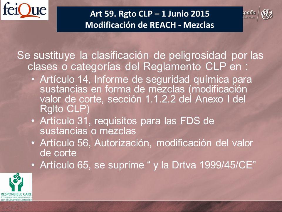 Se sustituye la clasificación de peligrosidad por las clases o categorías del Reglamento CLP en : Artículo 14, Informe de seguridad química para susta
