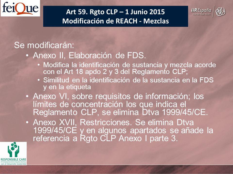 Se modificarán: Anexo II, Elaboración de FDS. Modifica la identificación de sustancia y mezcla acorde con el Art 18 apdo 2 y 3 del Reglamento CLP; Sim