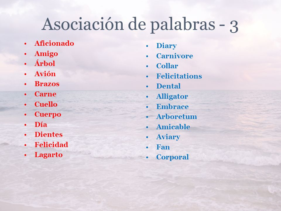 Asociación de palabras - 3 Aficionado Amigo Árbol Avión Brazos Carne Cuello Cuerpo Día Dientes Felicidad Lagarto Diary Carnivore Collar Felicitations Dental Alligator Embrace Arboretum Amicable Aviary Fan Corporal
