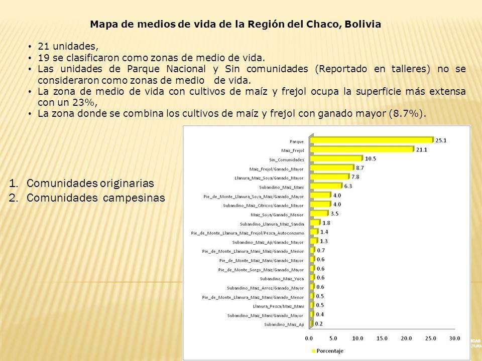 Mapa de medios de vida de la Región del Chaco, Bolivia 21 unidades, 19 se clasificaron como zonas de medio de vida. Las unidades de Parque Nacional y