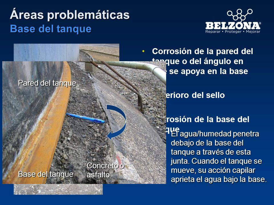 Áreas problemáticas Base del tanque Corrosión de la pared del tanque o del ángulo en que se apoya en la base Deterioro del sello Corrosión de la base