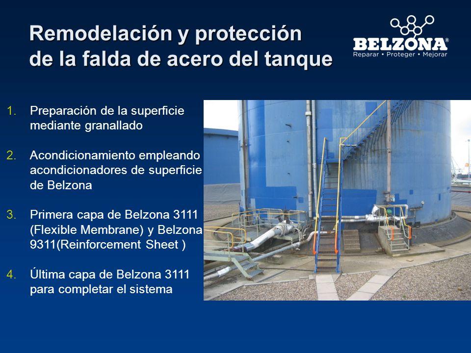 Remodelación y protección de la falda de acero del tanque 1.Preparación de la superficie mediante granallado 2.Acondicionamiento empleando acondiciona