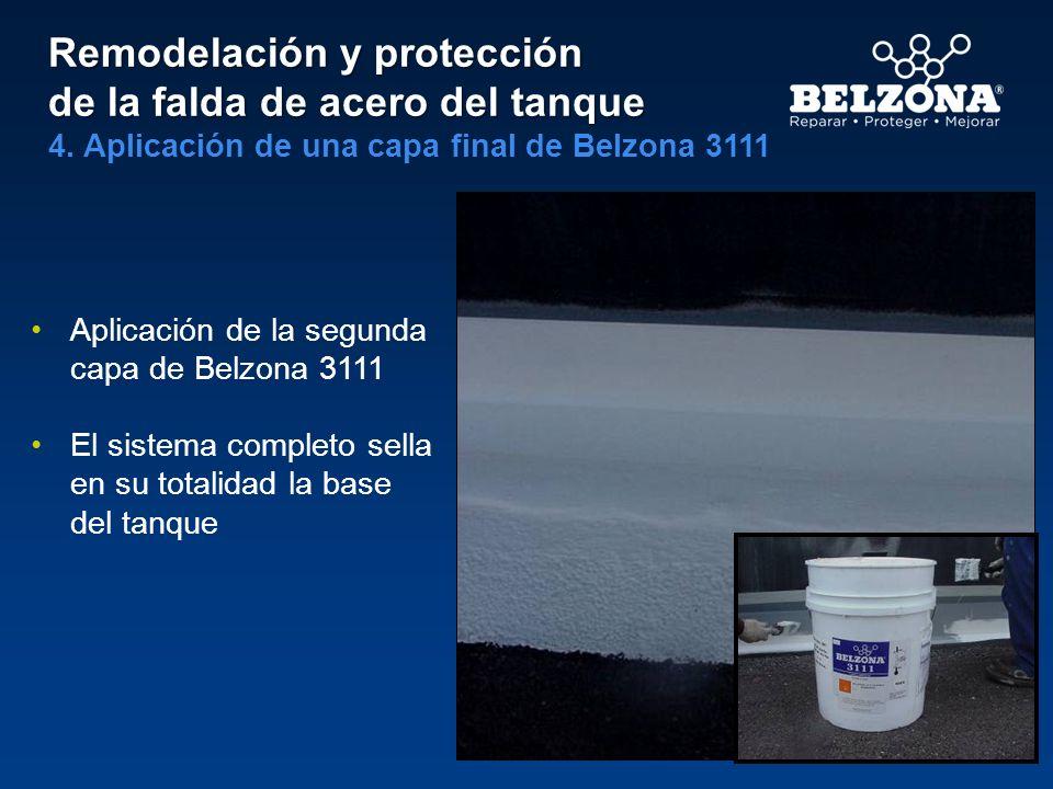 Remodelación y protección de la falda de acero del tanque 4. Aplicación de una capa final de Belzona 3111 Aplicación de la segunda capa de Belzona 311